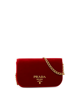 Image 1 of 3: Small Velvet Flap Crossbody Bag