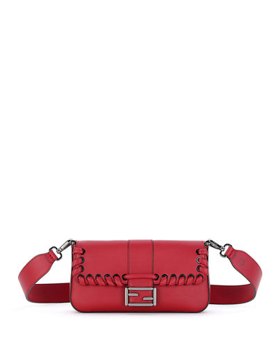 Baguette Whipstitch Leather Shoulder Bag, Red