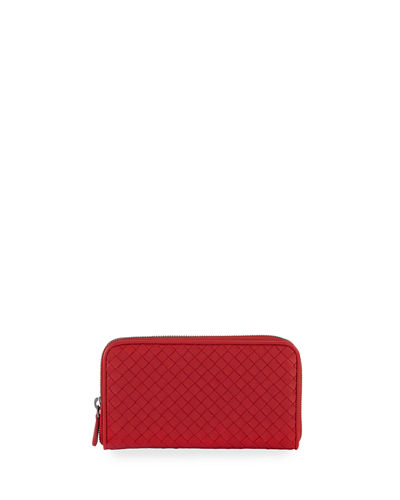 Bottega Veneta Intrecciato Continental Zip-Around Wallet