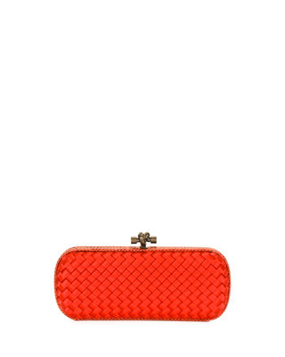 Image 1 of 2: Satin Elongated Knot Clutch Bag