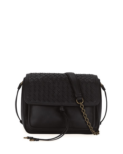 Medium Intrecciato Flap Tie-Front Shoulder Bag