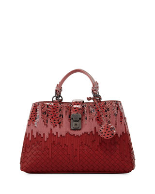Bottega Veneta Small Flow Wave Snakeskin Tote Bag