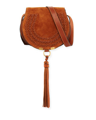 Image 1 of 4: Marcie Small Suede Crossbody Bag