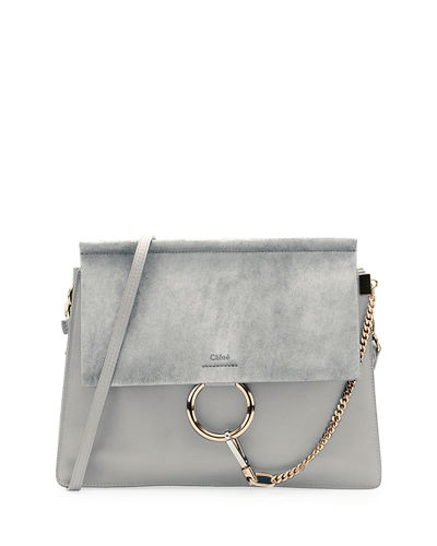 Faye Medium Leather & Suede Shoulder Bag