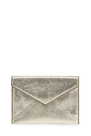 Rebecca Minkoff Leo Metallic Leather Clutch Bag, Champagne