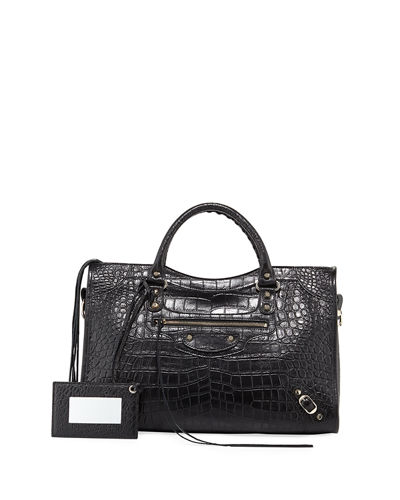 Balenciaga Classic City Crocodile-Effect Shoulder Bag