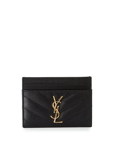 Saint Laurent Monogram YSL Matelassé Leather Card Case