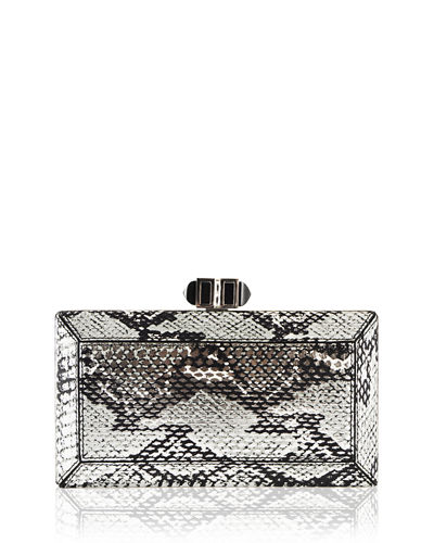 Coffered Snakeskin Minaudiere Clutch Bag