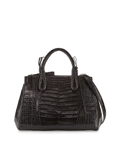 Crocodile Medium Knotted Top-Handle Bag
