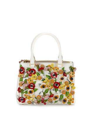 Saffiano Garden Small Double-Zip Galleria Tote Bag