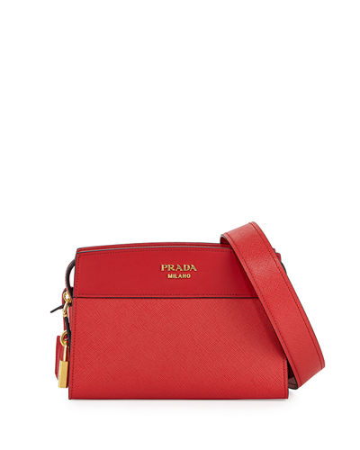 Quick Look Prada Esplanade Saffiano Crossbody Bag Available In Red
