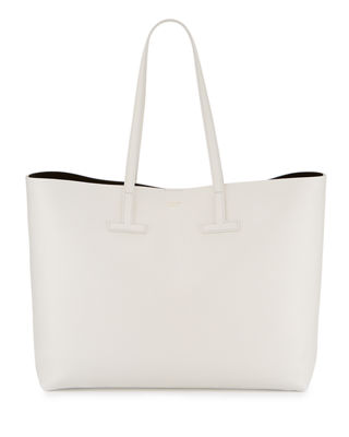 Image 1 of 4: Large Grained Leather T Tote Bag