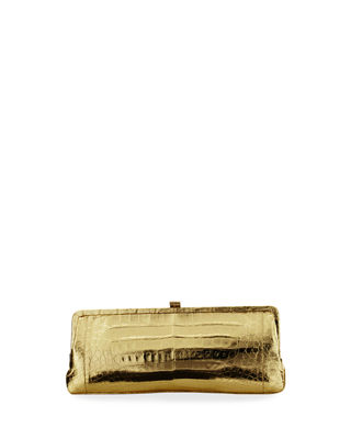Image 1 of 3: Crocodile Slim Frame Clutch Bag