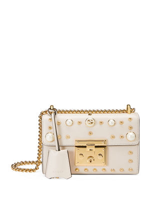 Image 1 of 4: Padlock Small Studded Leather Shoulder Bag
