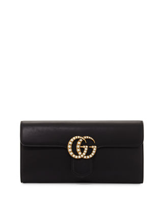 Image 1 of 4: GG Marmont Pearly Leather Clutch Bag