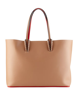 CHRISTIAN LOUBOUTIN Cabata Calfskin Leather Tote - Pink, Neutral Pattern