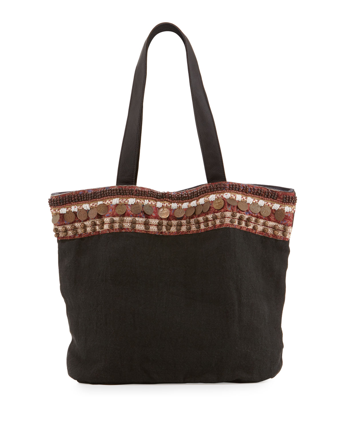 860ceacc3377 Ale by Alessandra Cleopatra Beaded   Embellished Linen Tote Bag ...