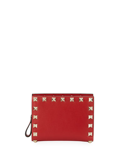 Rockstud Leather French Wallet