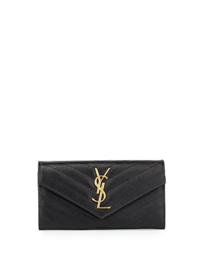 Saint Laurent Monogram YSL Leather Large Flap Continental Wallet