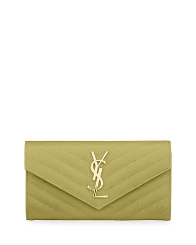Monogram YSL Leather Large Flap Continental Wallet