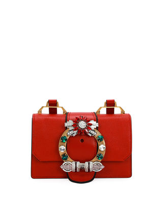 Madras Crystal Embellished Leather Shoulder Bag - Red