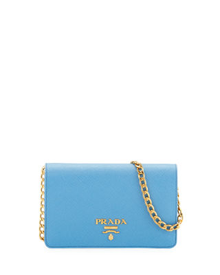Saffiano Flap Crossbody Wallet-on-Chain