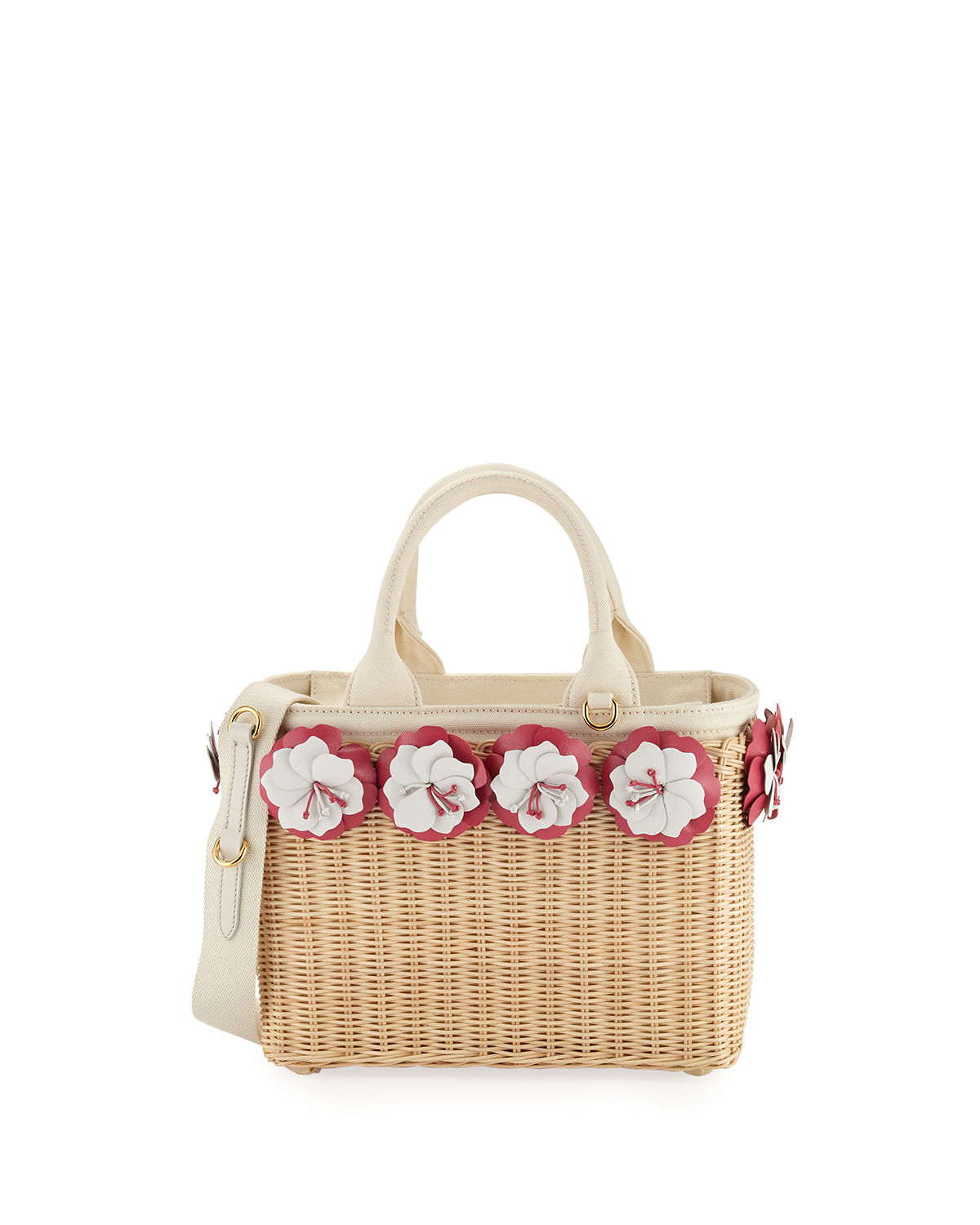 Small Flowers Raffia Basket Bag