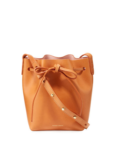 Vegetable-Tanned Leather Mini Mini Bucket Bag