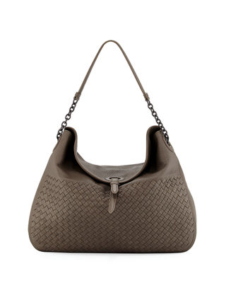 Bottega Veneta Intrecciato Cervo Flap-Top Hobo Bag