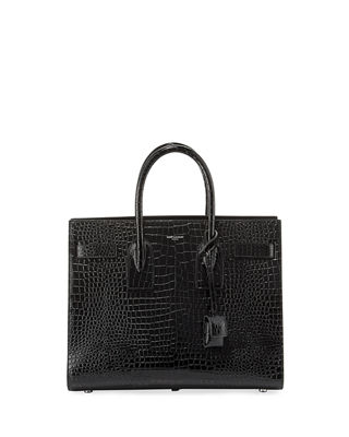 Saint Laurent Sac de Jour Small Crocodile-Embossed Satchel