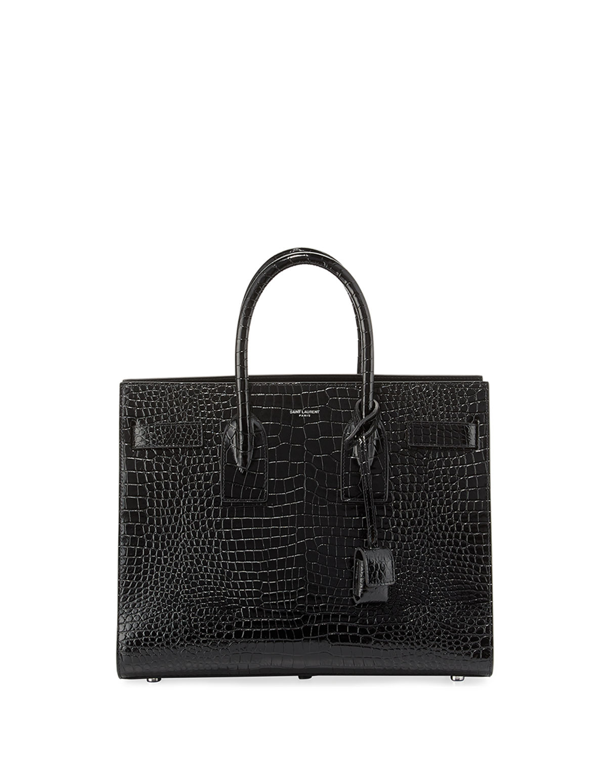 35f6e4595880 Saint LaurentSac de Jour Small Crocodile-Embossed Satchel Bag - Silver  Hardware