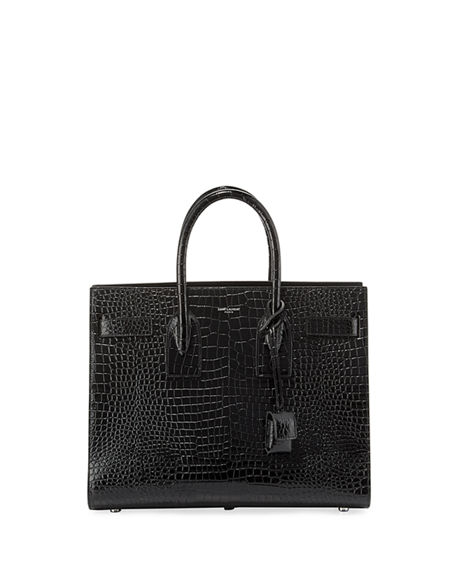 Image 1 of 5  Sac de Jour Small Crocodile-Embossed Satchel Bag - Silver 00896dbec3077