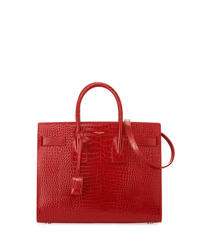 Saint Laurent Sac de Jour Small Crocodile-Embossed Satchel Bag - Silver Hardware