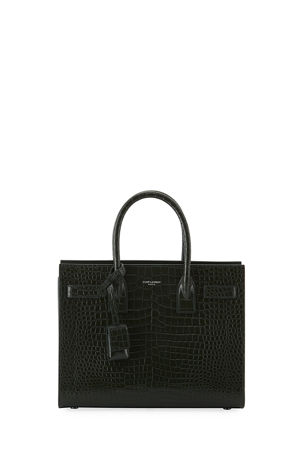 Saint Laurent Sac de Jour Baby Crocodile-Embossed Leather Satchel Bag