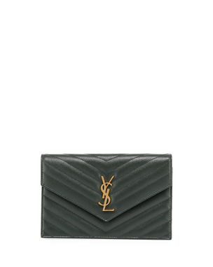 387ee5044f0339 Saint Laurent Monogram YSL Chevron Quilted Wallet on Chain