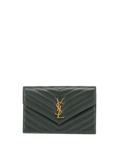 Monogram YSL Chevron Quilted Wallet on Chain