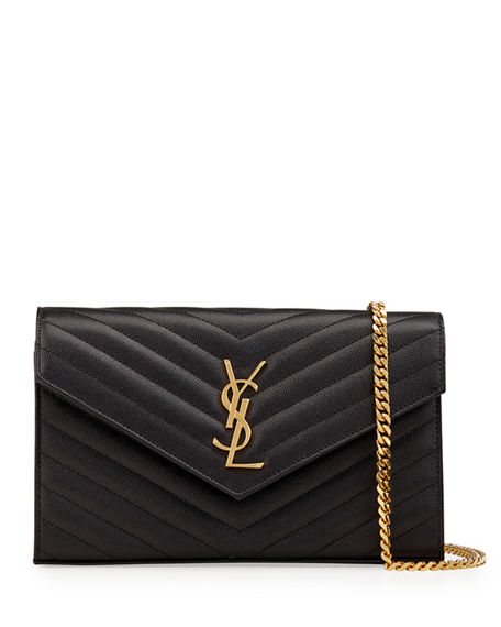 Saint Laurent Monogramme Large Grain de Poudre Wallet on Chain