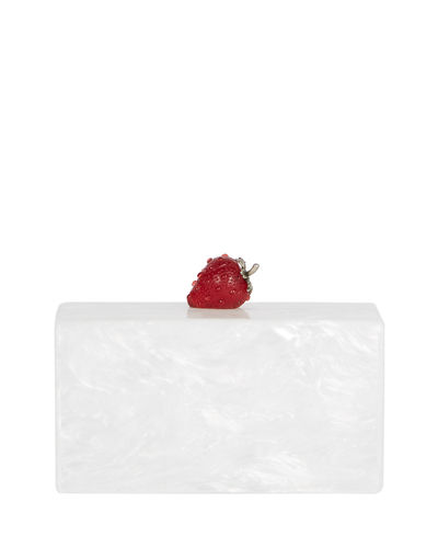 Edie Parker Jean Marbled Acrylic Strawberry Clutch Bag