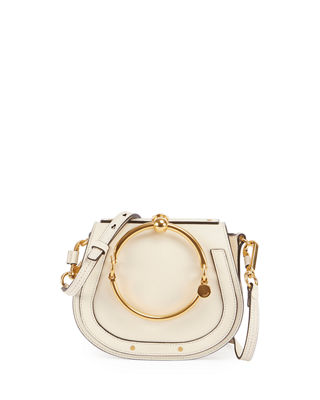 Chloe Small Nile Calfskin & Suede Bracelet Bag In White