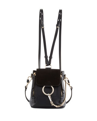Chloe Mini Faye Suede & Calfskin Backpack In Black