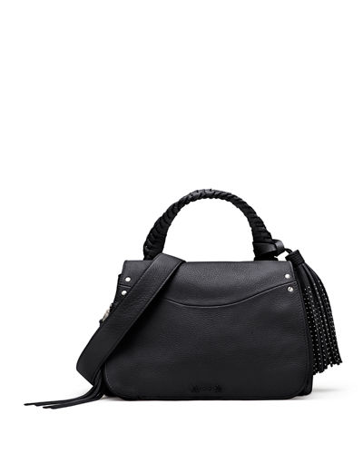 Elizabeth and James Trapeze Small Studded Tassel Satchel