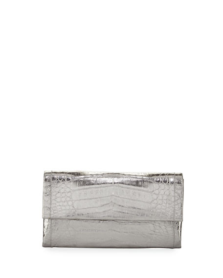 Nancy Gonzalez Simple Crocodile Flap Clutch Bag, Anthracite