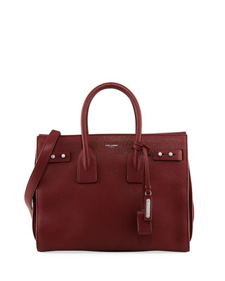 SAINT LAURENT Sac De Jour Small Textured-Leather Tote, Dark Bordeaux