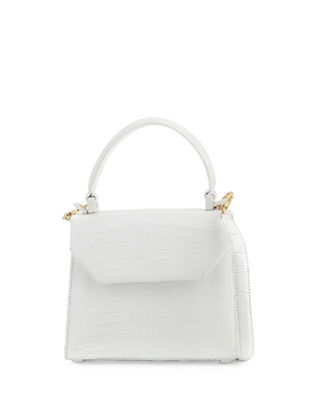 Image 1 of 5: Crocodile Small Flap Top-Handle Crossbody Bag
