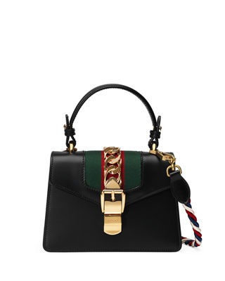 Sylvie Mini Chain-Trimmed Leather And Canvas Shoulder Bag, Black Leather