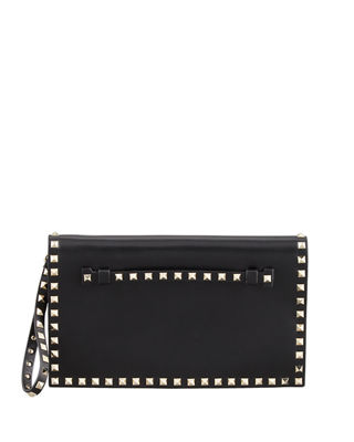 Image 1 of 3: Rockstud Flap Wristlet Clutch Bag