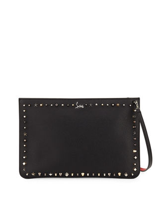 Black Empire Trash leather clutch bag Christian Louboutin