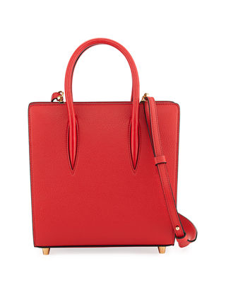 CHRISTIAN LOUBOUTIN Paloma Small Studded Textured-Leather Tote in Red