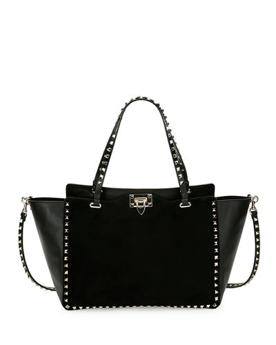 Rockstud Medium Suede Tote Bag
