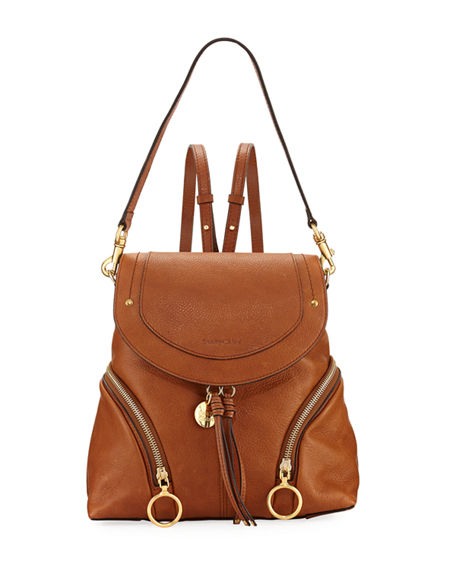SEE BY CHLOÉ OLGA ZIP-SIDE LEATHER BACKPACK
